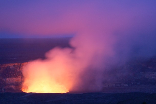 Hawaii Big Island Volcanoes National Park Halema'uma'u Crater at Dusk