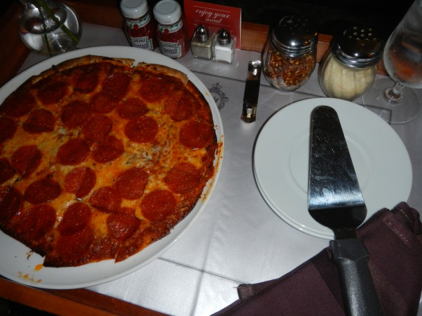 Room service pepperoni pizza