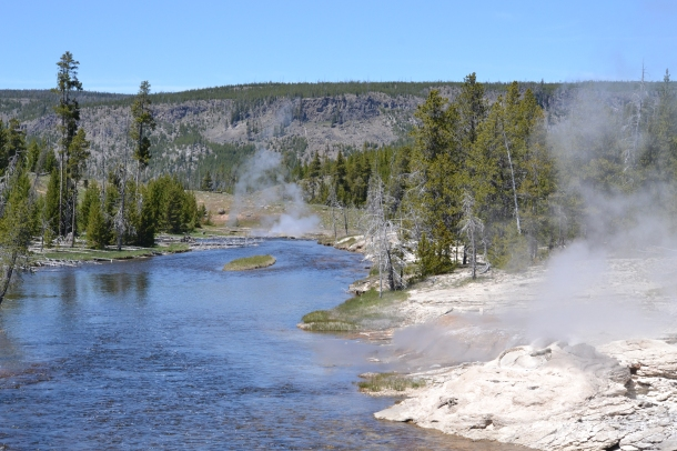 Crossing the Firehole River en route to Morning Glory