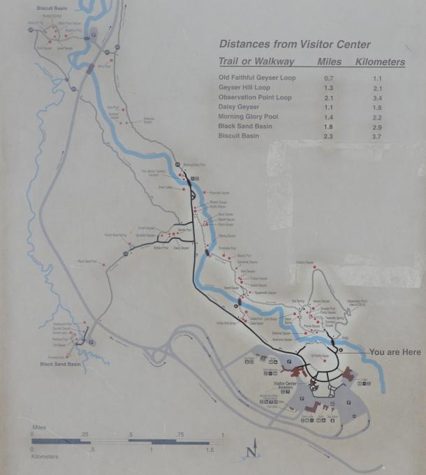A map of the geyser basin around Old Faithful