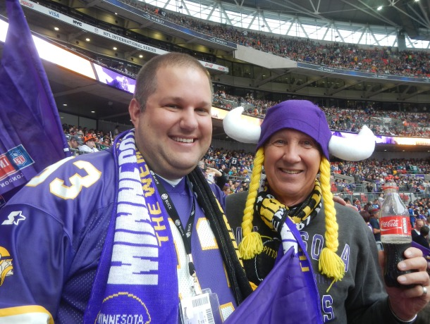 Dad and me getting pumped for the Vikings game