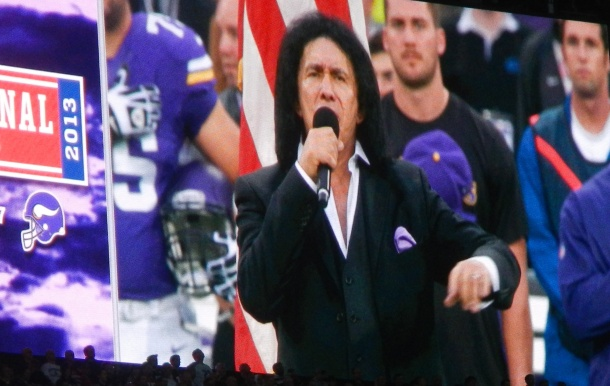 Gene Simmons from KISS singing the national anthem...and doing a great job.