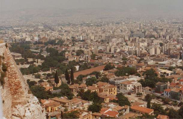 Looking out on Athens from the Acropolis
