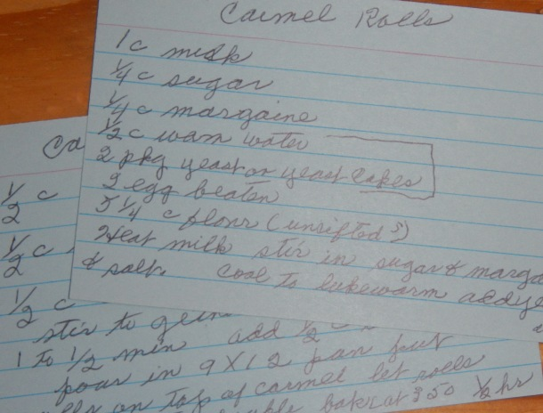 Grandma's hand-written caramel roll recipe