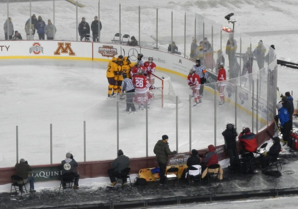 The Gophers celebrate the lone goal of the game