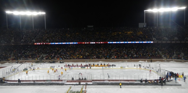 The crowd packing the stands of the game