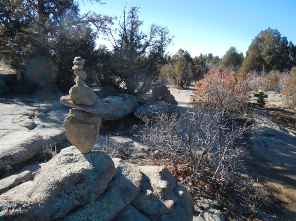 A cool hiking cairn marks the spot