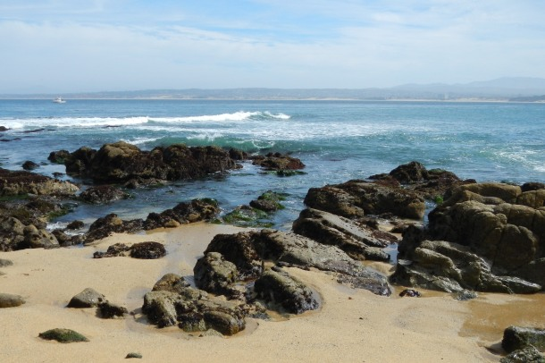 A beach along Monterey's Cannery Row
