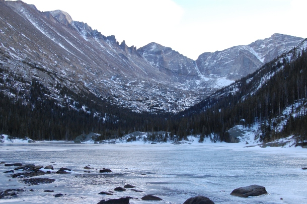 A frozen Mill's Lake in Colorado's Rocky Mountain National Park