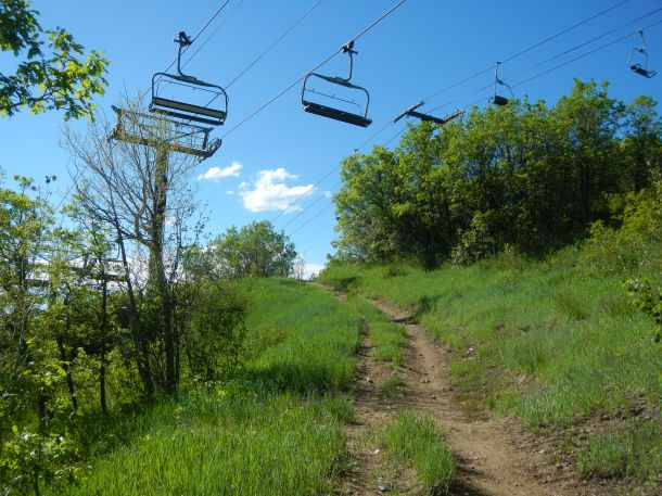 Hiking under the chair lifts in Steamboat Springs