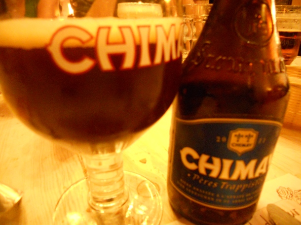 Enjoying a Chimay with dinner in Belgium