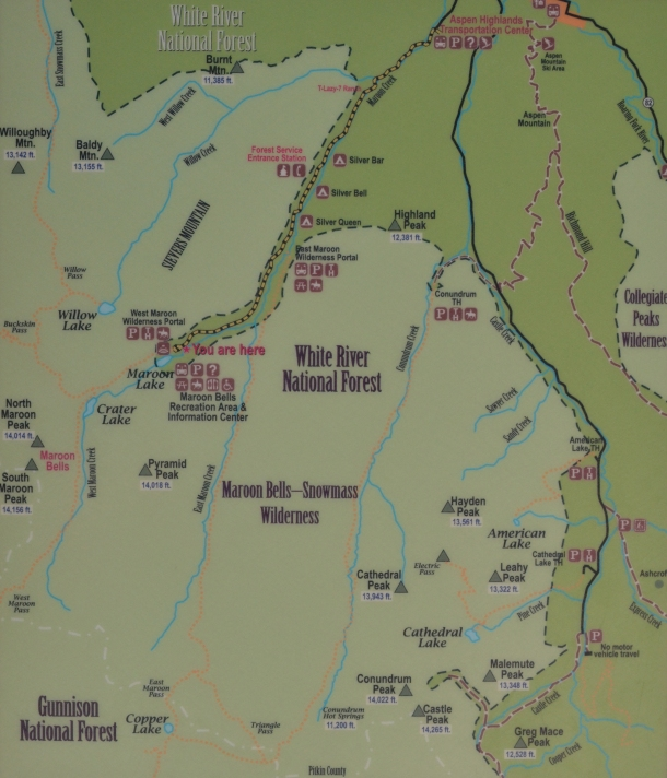 A map of the area around the Maroon Bells