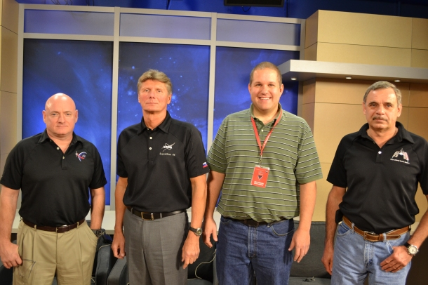 Crew: Scott Kelly (left), Mikhail Kornienko (right) and Gennady Padalka (middle), with me at NASA in Houston